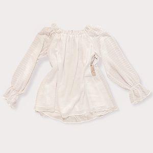 White Crinkle Stripe Off The Shoulder Blouse